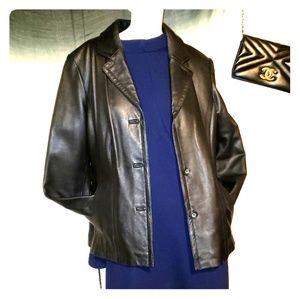 Sz L/XL black leather moto jacket